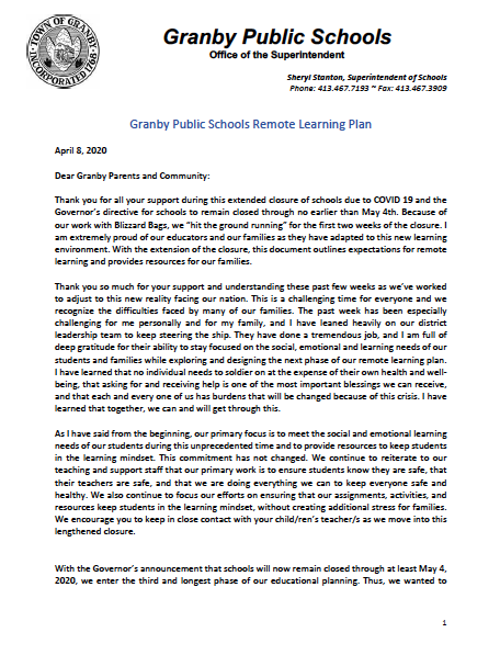 Granby Remote Learning Letter