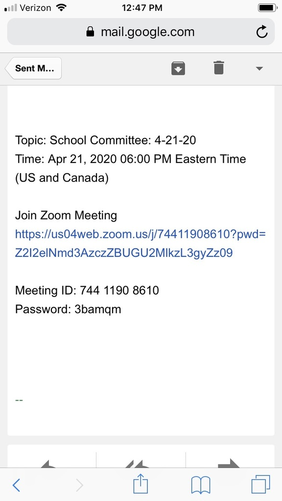 School Committee Meeting April 21st.